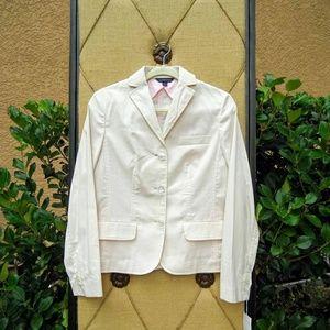 Lands End Pink White Striped Blazer Jacket NEW